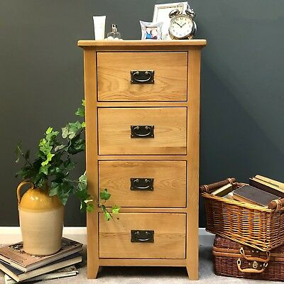Oak Chest Of Drawers / Solid Wood / Narrow Tall Chest /4 Drawer Brand New Grange • 164.99£