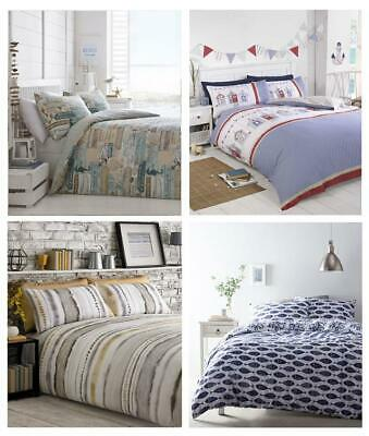 Nautical Duvet Sets Sailing Beach Huts And Drift Wood Quilt Covers Bed Sets • 18.04£