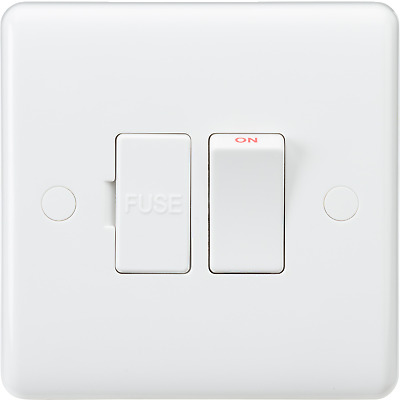 White Curved Edge Wiring Accessories 13A Switched Fused Spur Flex Outlet At Base • 2.99£