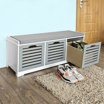 £79.95 • Buy SoBuy® Storage Bench With 3 Drawers Shoe Cabinet With Seat Cushion, FSR23-HG,UK
