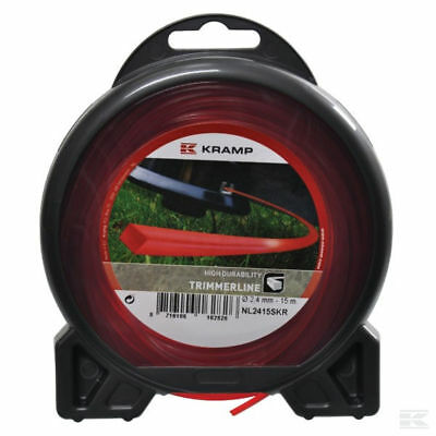 2mm X 15M HEAVY DUTY STRIMMER TRIMMER SQUARE LINE • 5.85£