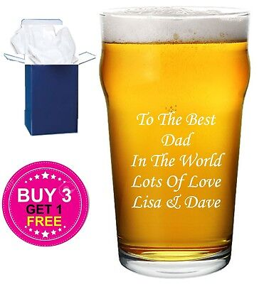 £8.95 • Buy Personalised Engraved Pint Beer Glass Fathers Day Gift Dad, Granddad, Stepdad