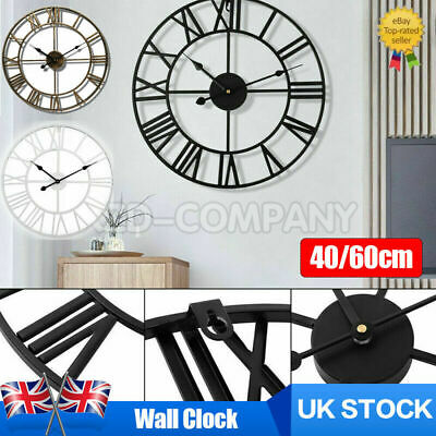 £20.89 • Buy 40 60CM Extra Large Roman Numerals Skeleton Wall Clock Big Giant Open Face Round