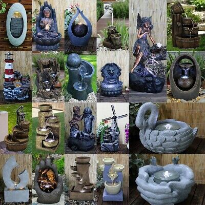 £53.99 • Buy Garden Fountain Water Feature LED Lights Indoor Outdoor Polyresin Statues Decor
