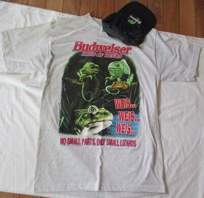 $ CDN75.76 • Buy Rare Budweiser   No Small Parts, Only Small Lizards   T-shirt & Hat - Size L New