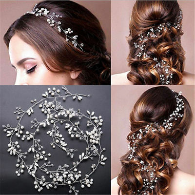 $ CDN2.60 • Buy Women Pearl Wedding Hair Vine Crystal Bridal Accessories Headbands 35cm