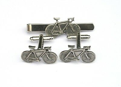 £24.99 • Buy Racing Bike Pewter Cufflinks And Tie Clip Set Cycling Gift Boxed 292