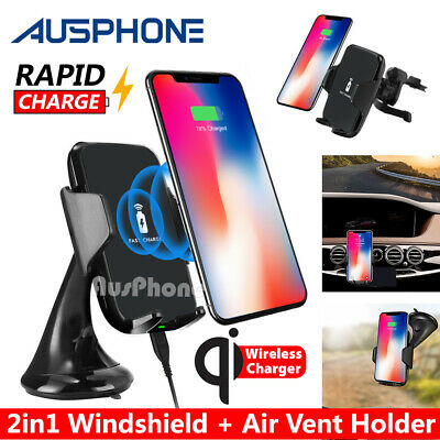 AU24.95 • Buy Qi Wireless Car Charger Dock Windshield Air Vent Mount Holder For Mobile Phone