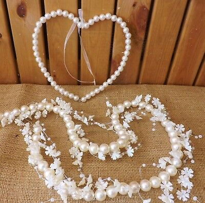 Ivory Pearl Hanging Love Heart Wreath / Flower Garland Wedding Home Decoration • 6.99£