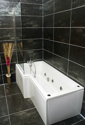 Left Hand L Shape Jacuzzi Type Spa Bath & Screen With Whirlpool & Light • 564.99£