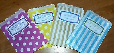 20 Personalised Sweetie Bags Birthday Baby Shower Christening Holy Communion Hen • 2.50£