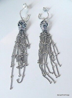Nwt Authentic Pandora Silver  Earrings Enchanted Tassels Drop #297115 Hinged Box • 65.09£