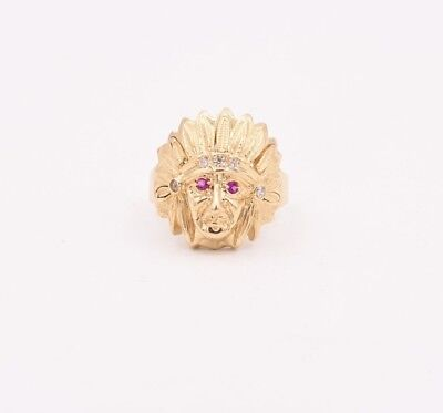£321.77 • Buy Size 9 Men's Unisex Indian Chief Head Ruby CZ Ring Real Solid 14K Yellow Gold