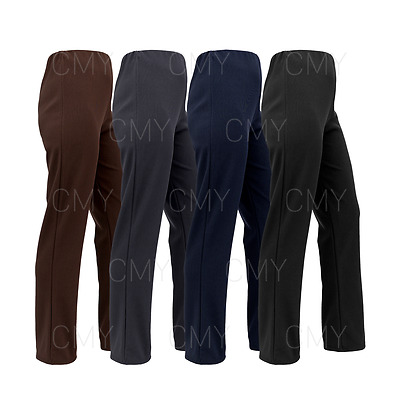 £7.99 • Buy Womens Bootleg Trousers Ladies Stretch Finely Ribbed Pants Pull On Bottoms
