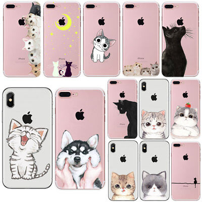 AU4.90 • Buy For IPhone 7 8 PLUS X 5 6 6S Cat Ultra Thin Soft Rubber Back Phone Case Cover