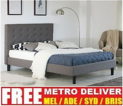 AU159 • Buy Alexis Button Single Double Queen King Grey Charcoal Beige Fabric Bed Frame Base