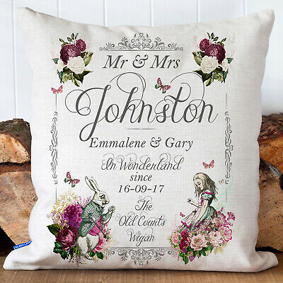 Alice In Wonderland Wedding Cushion Vintage Anniversary Personalised Gift AW12 • 9.95£
