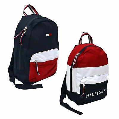 $59.99 • Buy Tommy Hilfiger Backpack Canvas Small Book Bag 2 Pocket Colorblock School New Nwt