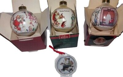 $ CDN32.71 • Buy 4 Norman Rockwell Hallmark Glass Christmas Ornaments  1990s Gramps At The Reins