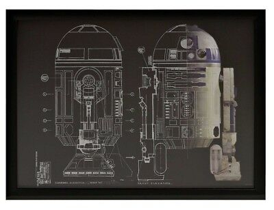 £20.89 • Buy Star Wars R2-D2 Foil Blueprint Shadowbox Wall Art Picture Artissimo *Scratches*