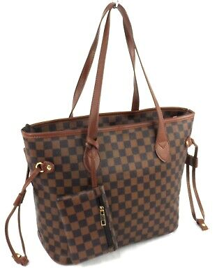 Womens Faux Leather Large Checked Shoulder Bag Tote Handbag + Purse Tan Brown • 16.99£