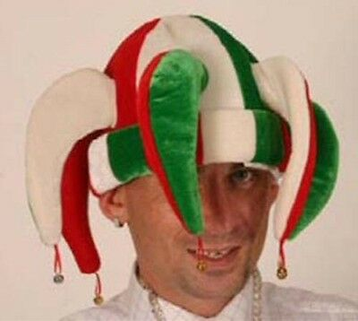 Jester Hat Red White Green Carnival Circus Fancy Dress Costume Accessory P2374 • 4.99£