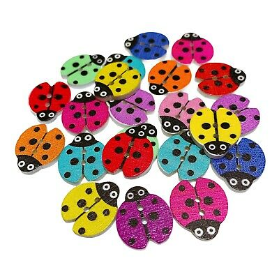 £2.79 • Buy 40 Wood Ladybird Buttons - Mixed Colours - Craft - Scrapbook - Sewing - Cards