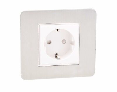 1G Single Schuko Electrical European Power Socket ScrewLess Plate Brushed Chrome • 9.24£