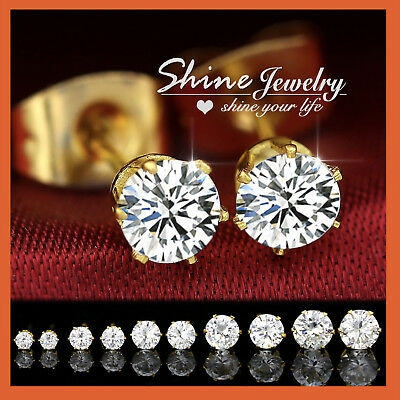 AU3.99 • Buy 9K YELLOW GOLD FILLED Round STUD SIMULATED DIAMOND CT SOLID MENS WOMENS EARRING