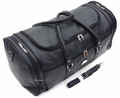 XXL  24  Faux Leather Holdall Luggage Weekend Duffel Cabin Travel Gym Bag Case • 19.99£