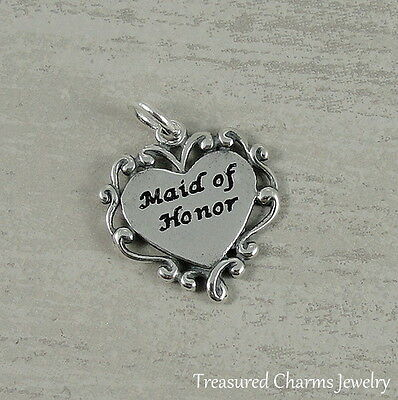 $14.95 • Buy 925 Sterling Silver Maid Of Honor Heart Charm - Wedding Bridal Gift Pendant NEW