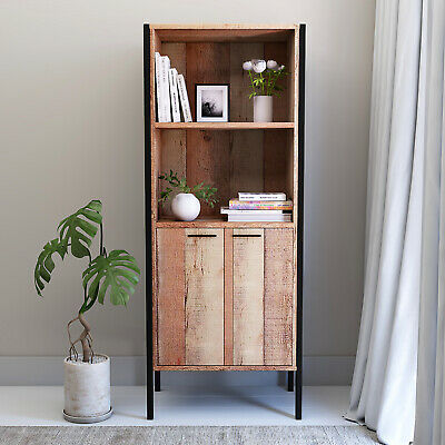 Stretton 2 Door Bookcase Storage Cabinet Shelving Display Sideboard Rustic Oak • 127.49£