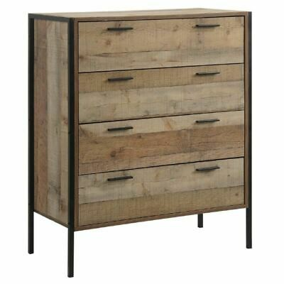 Stretton Rustic Chest 4 Drawers Bedroom Living Room Storage Industrial Oak • 144.49£