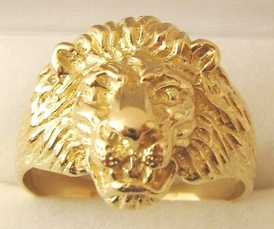 AU379 • Buy  GENUINE 9K 9ct SOLID GOLD MEN'S LION HEAD RING Size T/10 To W/11.5