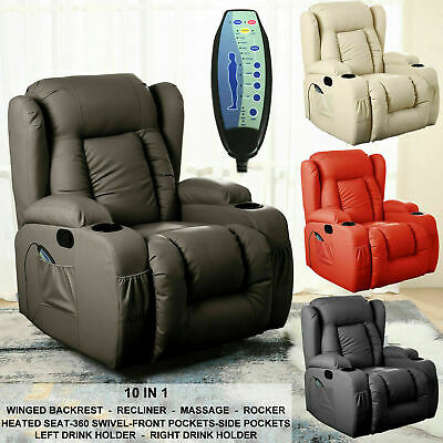£319.99 • Buy Leather Recliner Electric Massage Chair Rocking Winged Heated 10 In 1 Armchair