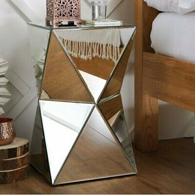 Mirrored Side Table Furniture Venetian Bedside Cabinet Lamp Stand Contemporary • 169.90£