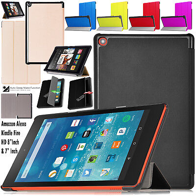 "Fire HD 8"" Inch Amazon Alexa Kindle Magnetic Flip Leather Hard Stand Case Cover • 6.98£"