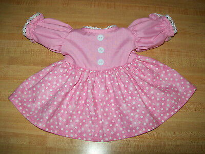 PINK TOP DRESS W POLKA DOT SKIRT LACE+BUTTONS For 16-18  CPK Cabbage Patch Kids • 12.29£