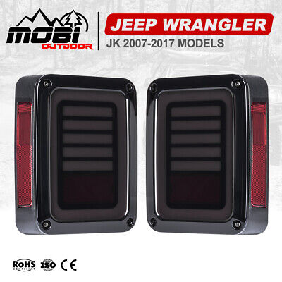 AU89.99 • Buy Pair LED Tail Lights Rear Signal Reverse OEM 07-17 Jeep Wrangler JK Smoked Black