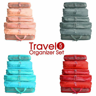 AU11.83 • Buy 5pcs Travel Luggage Organizer Packing Cube Pouch Suitcase Clothes Storage Bags
