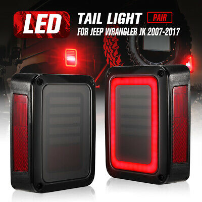 AU119.95 • Buy 2x Smoked LED Tail Lights Brake Turn Signal Reverse OEM Jeep Wrangler JK 07-17
