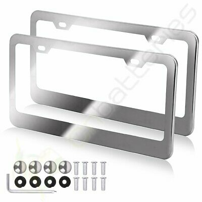 2x 2 Hole Metal License Plate Frame HD Stainless Steel Chrome For Audi/BMW/Acura • 8.99$