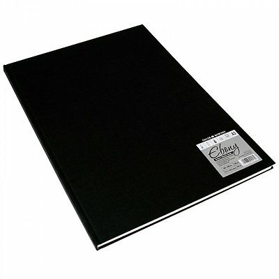 Daler Rowney Hard Back Ebony Bound Sketch Pad White Pages A3 • 17.14£