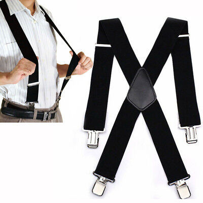 $7.98 • Buy Mens Suspenders X Style Very Strong Clips Adjustable Fits All Heavy Duty Braces