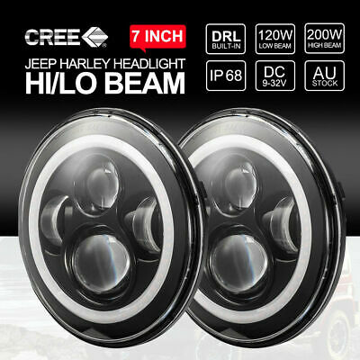 AU94.99 • Buy 7 Inch 200W CREE LED Headlights High Low DRL Halo For Jeep Wrangler TJ JK 97-17