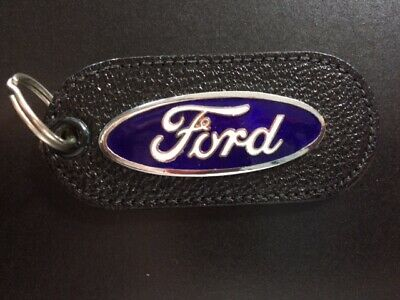Vintage Leather Torpedo Key Fob Key Chain Ford Torino Gt Red White  E  A