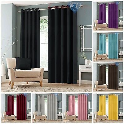 Luxury Thermal Blackout Curtains Eyelet Ring Top Curtain Pair With Tie Backs • 25.95£