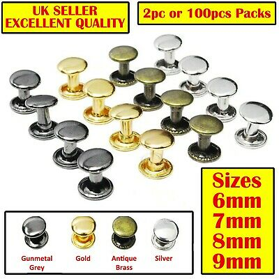 £4.29 • Buy Double Cap Rivets 6x6 7x7 8x8 9x8 Sewing Studs Leather Craft Rapid Rivets Repair