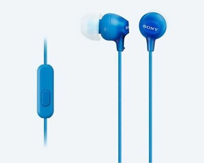 Sony EX15AP In-Ear Stereo Headphones With Mic And Control - Blue • 15.99£