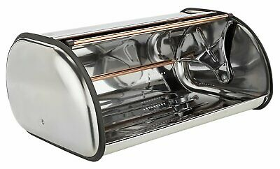 Addis Roll Top Stainless Steel And Copper Roll Top Lid Bread Bin • 16£